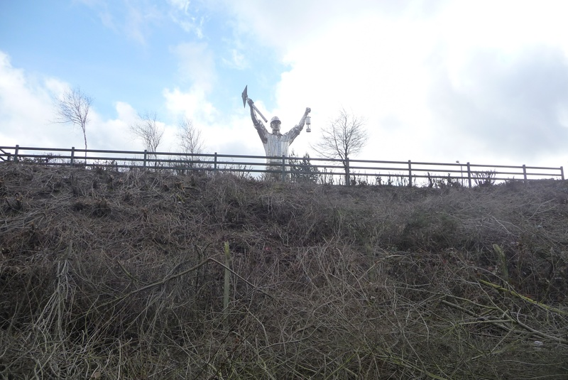 The miner statue from the track bed