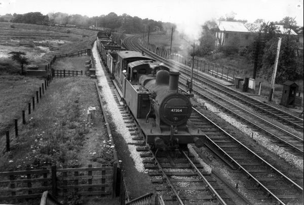 47354 freight towards Bescot Curve junction on South Staffs Line 1958